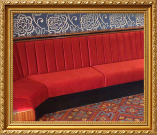 Re-upholstered bar seating