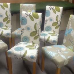 Re-upholstered dining chairs