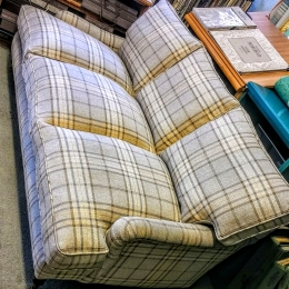 Plaid wool sofa